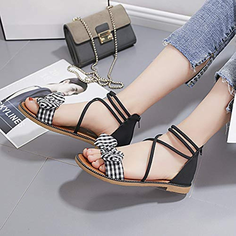 2019 Summer Roman Sandals Women's Straps Flat Sandals Korean Bow Casual Wild Sandals Women,A,US7.5 EU38 UK5.5 CN38
