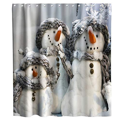 Lifeasy Weihnachts-Duschvorhang Schneemann tragen Schal Stoff Badezimmer Dekor Set mit Haken Wasserdicht Waschbar 177,8 x 177,8 cm Grau & Weiß