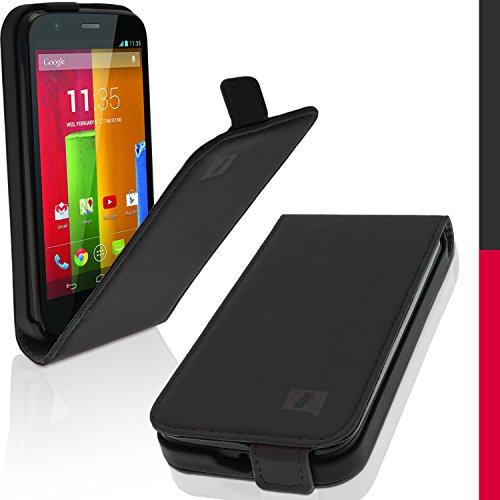 iGadgitz U2989 Custodia PU Pelle Flip Compatibile con Motorola Moto G XT1032 Cover con Pellicola - Nero