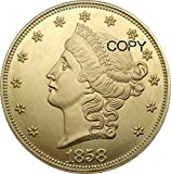 United States 20 Dollars Gold Coins 1858 Liberty Head Double Eagle Without Motto Twenty D. Brass Metal Copy Coins for Copy for Home Room Office Decor