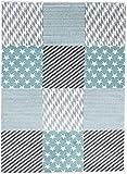 Carpeto Rugs Teppich Kinderzimmer Jugendizmmer Modern Sterne Muster Mint Blau