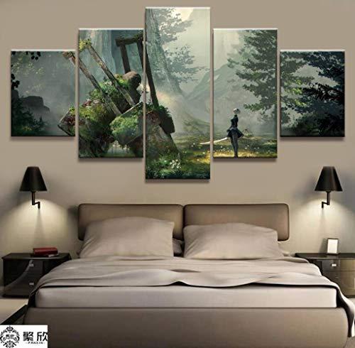 5 Panel Nier: Automata 2B Spiel Leinwand Gedruckt Malerei Für Wohnzimmer Wandkunst Wohnkultur Hd Bild Kunstwerke Moderne Poster(With Frame size)
