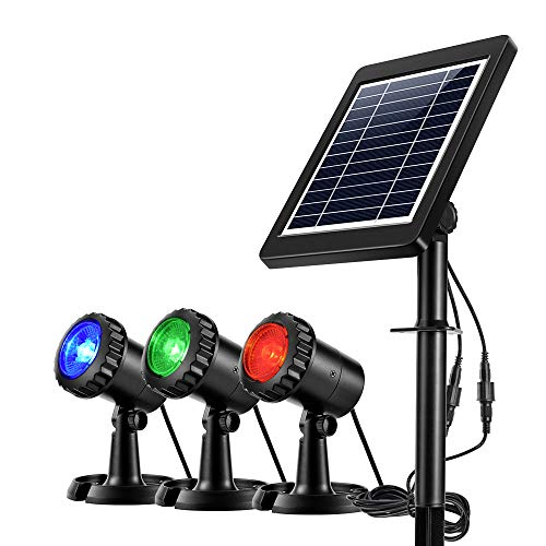 Ankway Projecteurs LED Solaires imperméables 3 GRB Lampes, Eéglable IP68 Étanche Lampe Solaire Lumières Solaires pour Extérieur Jardin Piscine Étang Cour Mur Route-Auto on/Off (Rouge Vert Bleu)