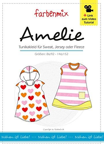 Amelie Farbenmix Schnittmuster (Papierschnittmuster für die Größen 86/92 - 146/152) Kleid und Tunika