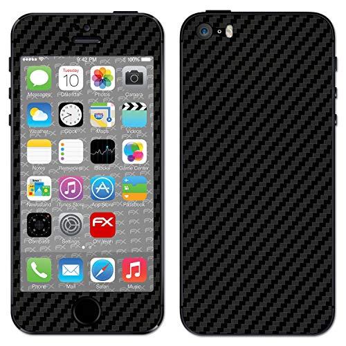 atFoliX Skin Compatibile con Apple iPhone 5S / SE, Sticker Pelle (FX-Carbon-Black), Struttura in Carbonio/Foglio di Carbonio