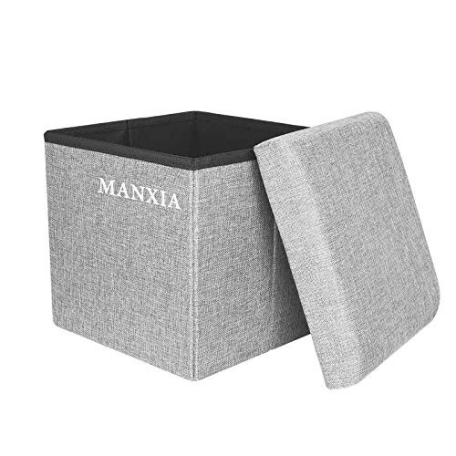 Foldable Storage Ottoman Cube Square Folding Linen Fabric Foot Rest Stool Seat with Memory Foam  15quot x 15quot x 15quotGray