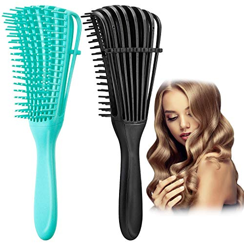 Spazzola districante, Spazzola per capelli, spazzola districante per capelli ricci, pettine morbido districante per capelli afro da 3a a 4c capelli ondulati crespi ricci spessi, (2PCS)