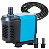 KEDSUM 770GPH Submersible Pump(3500L/H, 65W), Ultra Quiet Water Pump with 6.5ft High Lift, Aquarium Pump with 6.5ft Power Cord, 3 Nozzles for Fish Tank, Pond, Aquarium, Statuary, Hydroponics