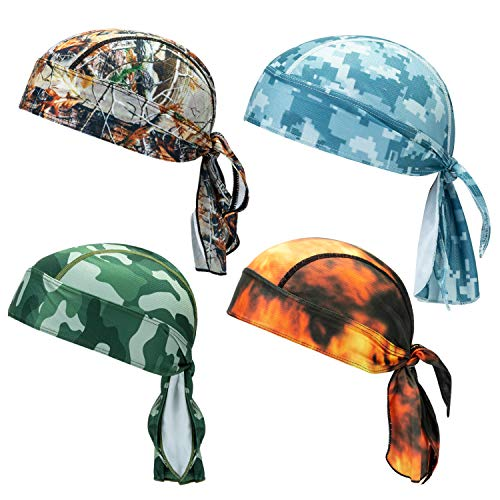 CICMOD 4Pcs Sweat Wicking Beanie Cap Hat Chemo Cap Quick Dry Cycling Head Wrap for Men Women