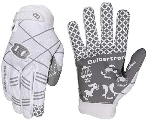 Seibertron Pro 3.0 12 Konstellation Elite Ultra-Stick Sports Receiver/Empfänger Handschuhe American Football Gloves Jugend und Kinder White S