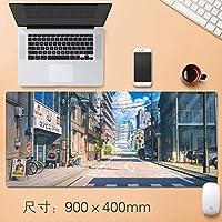 拡張大型プロフェッショナルゲーミングマウスパッド日本のアニメの静かな国?ストリートビッグデスクテーブルマット厚み付けノンスリップゴム耐水性デスクマットキーボードパッドで縫製エッジ90 * 40センチメートル (サイズ : Thickness: 5mm)
