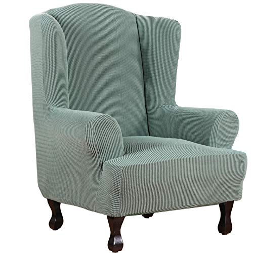 H.VERSAILTEX 1 Piece Super Stretch Stylish Furniture Cover/Wingback Chair Cover Slipcover Spandex Jacquard Checked Pattern, Super Soft Slipcover Machine Washable/Skid Resistance (Wing Chair, Sage)
