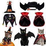5 Disfraces de Halloween de Gato Mascota Capa de Vampiro de Perro Pequeño Ala de Murciélago Sombrero de Bruja Calabaza con Correa Ajustable Collar de Babero de Perro Esqueleto con Campana