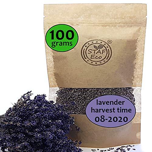 STAFECO Lavendel Lavendelblüten, getrocknet, 100% natürlich, geerntet im August 2020, aus nachhaltigem, biologischem Anbau, als Tee, Potpourri oder Mottenschutz geeignet (100)