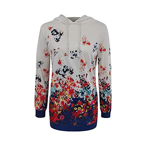 Sudaderas sueltas con estampado floral para mujer con capucha casual de manga larga con cordón superior, #2 Blanco, XXL