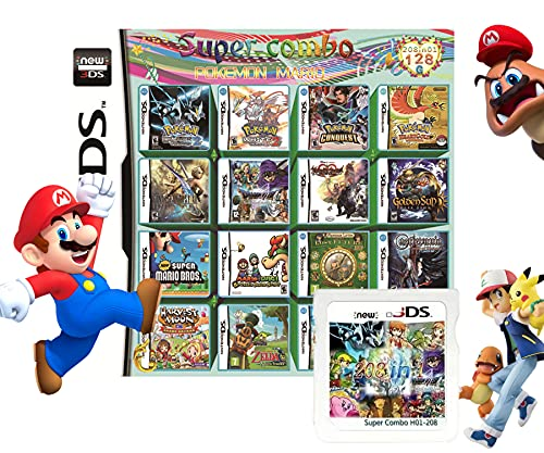 208 In 1 NDS Game Pack Card Compilations, Super Combo Multicart DS Game Card for Nintendo DS, NDSL, New 3DS, 2DS, New 2DS, NDSi, NDSi LL/XL, 3DS, 3DSLL/XL