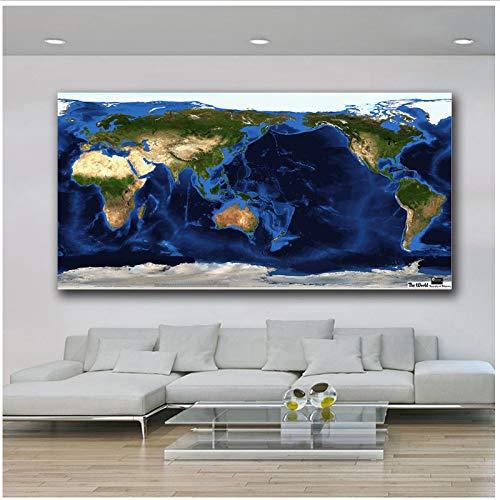 Muurkunst Wereld Topografie en Bathymetrie Kaart Paiting Wohnkultur op canvas Moderne muurkunst Canvas Print Poster Canvas Schilderen 60x120 cm Geen lijst