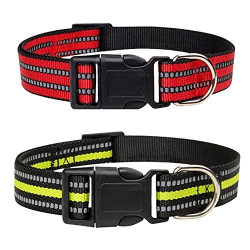 Collar para perros, de nailon ajustable, transpirable, reflectante, collares para perros (2 unidades), color rojo, verde