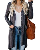 Cardigan Sweaters for Women Long Sleeve - Fashion Button Down Solid Color Fall Lightweight Long Cardigans with Pockets Grey L