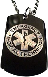 EMT Paramedic Emergency Medical Technician Symbol Logo - Military Dog Tag Luggage Tag Key Chain Metal Chain Necklace