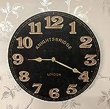 LP Retro Knightsbridge | Kensington London Theme 30 cm Reloj de Pared Redondo de Madera