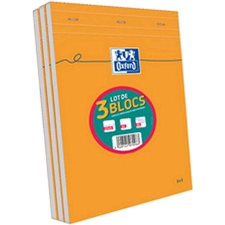 OXFORD Lot de 3 Bloc-Notes A4 (21x 29,7) 160 Pages Petits Carreaux 5x5mm Non Perforées Couverture Orange