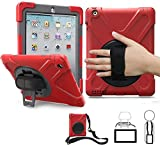 TSQ iPad 2 Case,iPad 3 Case,iPad 4 Case, Carrying Rugged Shockproof Silicone Case Cover for Kids with Handle Hand Strap,360 Rotating Stand, Shoulder Strap for 9.7 iPad 2nd / 3rd / 4th Generation Red