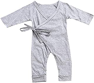 TOOGOO Romper Fashion Spring Angel Wings Newborn Baby Clothes for Girls Long Sleeve Kids Boys Jumpsuit Gray 100Cm