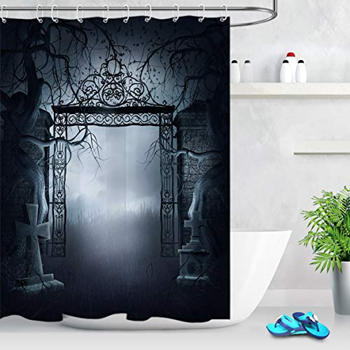 LB Gothic Shower Curtain with The Gate of a Dark Old Haunted House Cemetery Dead Mystic Halloween Bathroom Set,60x72 Inch Waterproof Fabric with 12 Hooks