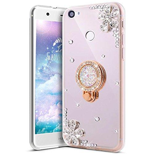 Saceebe Compatible avec Samsung Galaxy A50 Coque Brillante Diamant Paillette Strass Etui Miroir Housse Glitter Bling Silicone TPU Housse Anneau Support 360 Degr/és de Rotation Bague,Argent