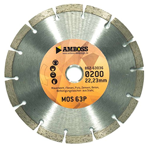 Amboss MOS 63P - Diamant-Trennscheibe für Montagefräsen Lamello Tanga Delta H / S2 - Mauerwerk / Fliesen / Putz / Beton / Laschen aus Stahl | Ø 200 mm x 22,2 mm | Segmenthöhe: 10 mm (gesintert)