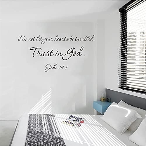 Zdklfm69 Adhesivos Pared Pegatinas de Pared Cita Cristiana de Moda La Confianza es Dios para la Sala de Estar Dormitorio Vinilo Impermeable 76x155cm