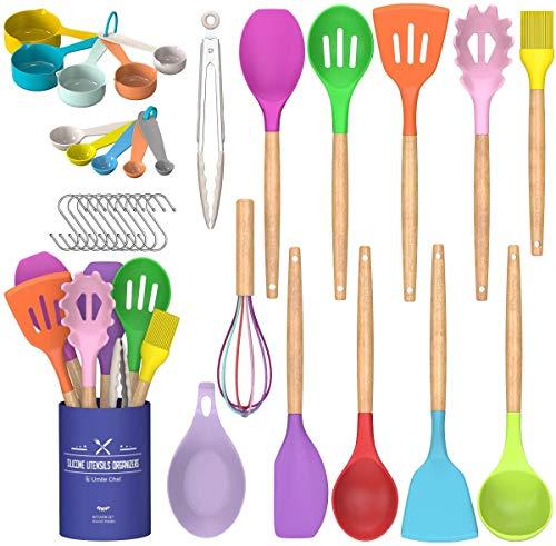 Juego de utensilios de cocina Umite Chef de cocina, 24 piezas antiadherentes de silicona utensilios de cocina con soporte, mango de madera resistente al calor utensilios de cocina Set (multicolor)