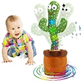 Heionia Cactus Bailarín Juguetes de Peluche Cactus Dancing Toy 120 Caciones Juguete Electrónico Cactus que Habla Repite Creativo Regalos Cumpleaños Ninos|Cantar+Bailar+Repetir+LED|(A-USB)