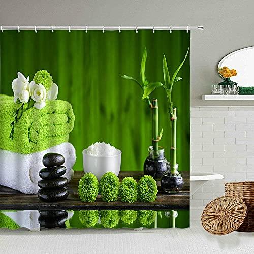 Freaiaqy Zen Stone Green Bamboo Shower Curtain Flowing Water SPA Garden Orchid Flower Bathroom Deco Hook Waterproof Washable Water-72 W x 78' H