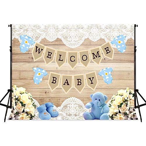 Wood Baby Shower Backdrop FHZON 7x5ft Lace Bear Woollen Shoes Background for Photography Interior Decoration Party Photo Booth Props MLSFH1365