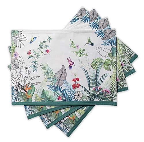 Maison d' Hermine Tropiques 100% Baumwolle Set mit 4 Tischsets für den Esstisch | Küche | Hochzeit | Alltag | Dinnerpartys | Frühling/Sommer (33 cm x 48 cm)