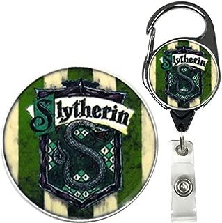 Harry Potter Hogwarts House Inspired Symbol Real Charming Premium Decorative ID Badge Holder (Slytherin Metal Carabiner)