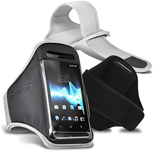 [XXL, Blanco] Deporte Brazalete Impermeable Aptitud Gimnasio Soporte Teléfono para Sharp Aquos S3 Mini