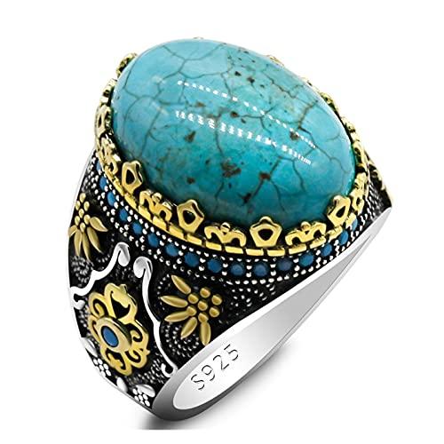 SONGHUA A estrenar 925 Sterling Silver Men's Natural Turquoise Anillo, diseño de Grabado Vintage, con Azul CZ Anillo Masculino de Zircon Punk Rock t (Gem Color : Cyan, Ring Size : 13)