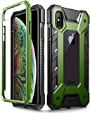 iPhone Xs Max Case, Poetic Journeyman [360 Degree Protection][Built-in-Screen Protector] Full-Body Rugged Heavy Duty Case for Apple iPhone Xs Max 6.5' OLED Display - Black/Olive