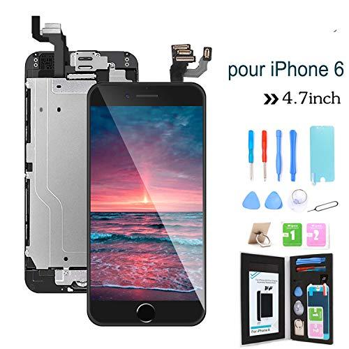 Ibaye - Reemplazo de Pantalla para iPhone 6 4.7 '',Táctil LCD de Repuesto Ensamblaje de Marco Digitalizador con botón de Inicio,cámara Frontal,Sensor de proximidad,Altavoz y Herramientas (Negro)