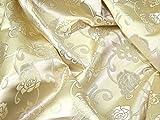 Minerva Crafts Brokat-Stoff, Blumenmuster, goldfarben,
