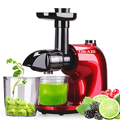 COLAZE Juicer Machine, Cold Press Juicer Extractor with 150W Quiet Motor, Slow Masticating Celery Juicer with 2 Speed and Reverse Function, High Juice Yield, BPA-Free, with Recipe