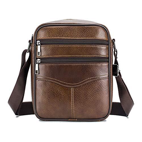 MANNUOSI Shoppers y bolsos de hombro piel autentica Bolsos para hombre vintage Business Bolsos de mano casual Bolsos cruzados multifuncional Bolsos marrón y