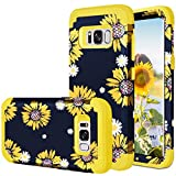Fingic Galaxy S8 Case, Samsung Galaxy S8 Case Sunflower 3 in 1 Heavy Duty Hybrid Hard PC Soft Silicone Rugged Bumper Anti Slip Full-Body Shockproof Protective Case for Samsung Galaxy S8 5.8', Yellow
