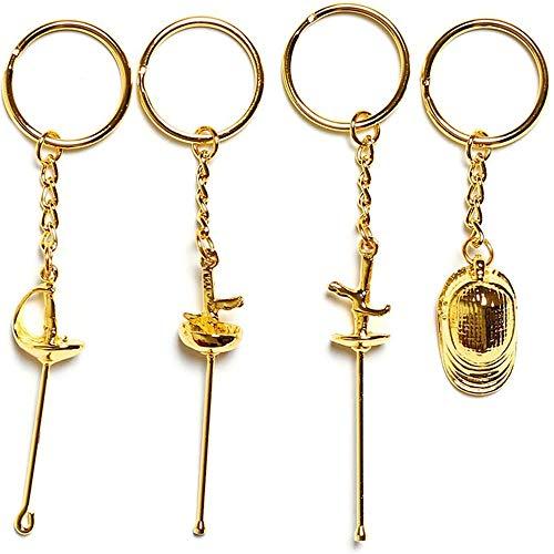 BEYONDTIME Customized Geschenk Für Fechter - Geschenk Für Säbel Degen Und Florett-Fechter - Fechten Schlüsselanhänger Fechten Anhänger Silber Gold Pendant Kreatives Geschenk Gold