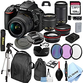 Nikon D5600 DSLR Camera with 18-55mm VR and 70-300mm Lenses + 128GB Card Tripod,Back-Pack,Filters 2X Telephoto Lens HD Wide Angle Lens Hood Lens Pouch and More  28pcs