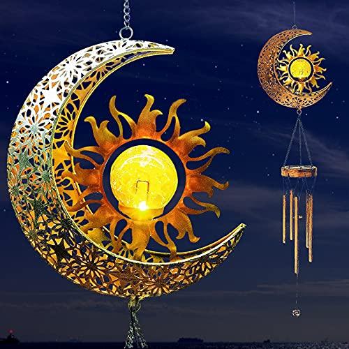 DriSubt Lámpara de jardín de campanillas de viento solar, colgante de metal, luna, sol, impermeable, con bola de luz de cristal agrietado, luces cálidas para jardín, patio, balcón y patio