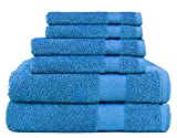 SweetNeedle -Uso diario Juego de toallas de 6 piezas, azul cian -2 toallas de...